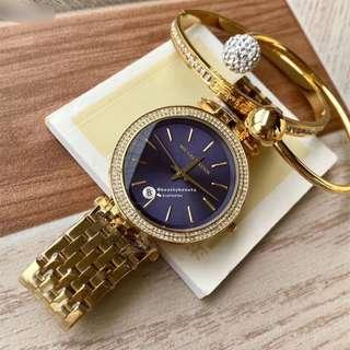 Michael Kors Women Watch 3 pieces set - gold with blue base and crystal surrounding 38mm