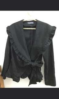 Black scuba ruffle korean blazer