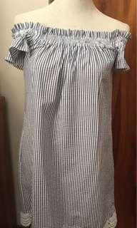 Vintage Striped Off Shoulder Dress