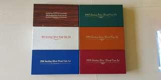 1994, 1995, 1996, 1997, 1998, 1999 Singapore Silver Proof Coin Set