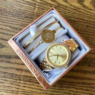 Michael Kors Women Watch 3 pieces set - gold with crystal surrounding 34mm
