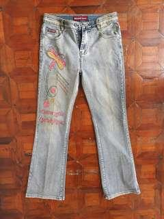 Blue Flared Jeans with Embroidery and Gems
