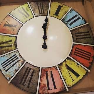 Vintage Multicoloured Roman Numeral Wall Clock