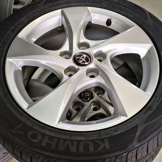 """Toyota 17"""" rims and tyres"""
