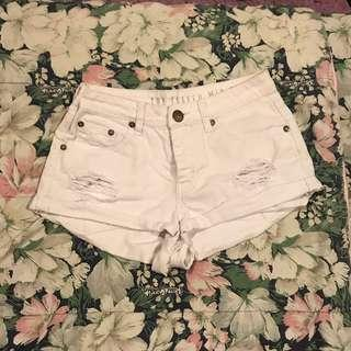 Cotton On White Ripped Denim Shorts