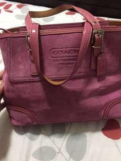 🔥Price drop 🔥Authentic Coach Suede Pink Tote