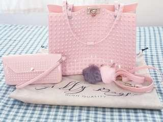 Studded Jelly Bag w/ Wallet and keychains