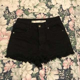 Factorie Black Ripped High Waisted Denim Shorts