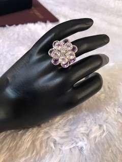 5.50 carats Amethyst ring in 18K white gold dia 0.02 carats