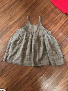🚚 格紋洋裝9.5成新版型偏小建議90 cm穿