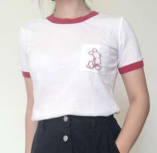 Ringer Tee Disney Putih Maroon Mickey Mouse Bordir Kaos Putih