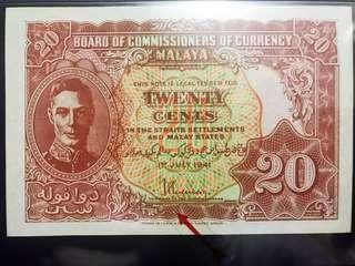 """Scarce dot variety """"b & c"""" 1941 Malaya 20 cents. selling Singapore & Malaysia"""