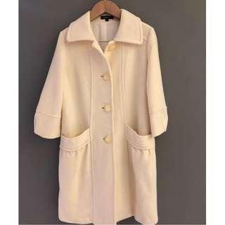 🚚 朵拉媽咪 【二手 9成新】無穿過 專櫃品牌 CHARCOAL 羊毛大衣  S 七分袖 大衣 毛料 羊毛 外套
