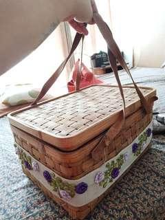 Tas piknik vintage bambu sulampita n leather
