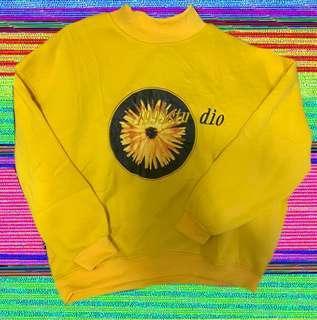 🚚 1993古著款黃色向日葵🌻不撞長袖上衣高領