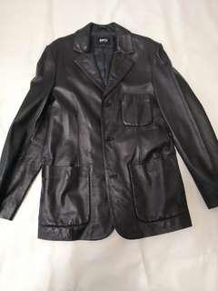 Leather Jacket黑色全真皮褸