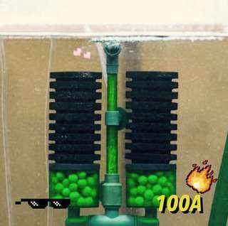bio sponge filter qanvee with media tray and free bio ball media included. QS-100A for breeding fish tank shrimp