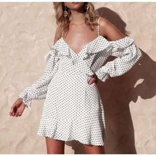 Polka Dot Off Shoulder Ruffle Dress