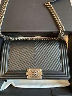 Boy Chanel Chevron black w ruthenium hw