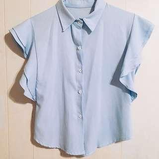 🚚 荷葉袖襯衫-天空藍