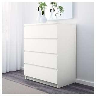 IKEA - MALM  White Chest of 4 drawers (80 x 100 cm)