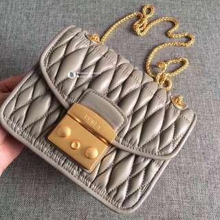 NEW✨Furla Metropolis Quilted Nappa Leather - grey beige