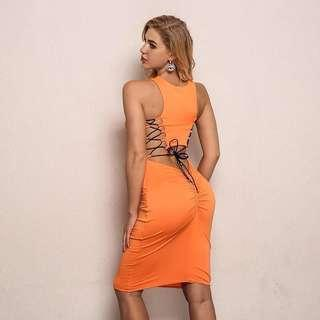 NEW fitted  orange backless bodycon dress