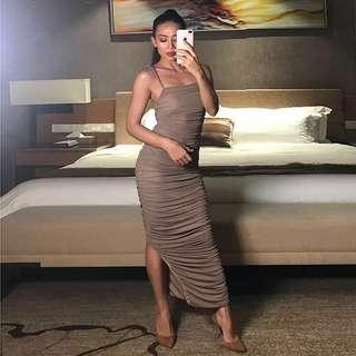 NEW Fitted scrunched taupe maxi dress cb