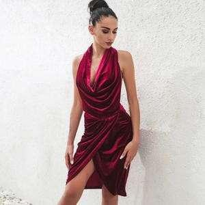 NEW red party, draped backless dress with split