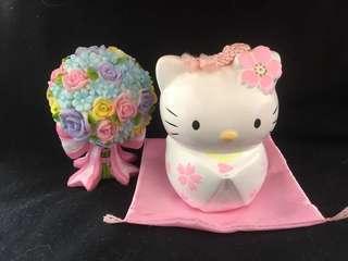 絕版2000年Hello Kitty櫻花噹啷擺設  送花球擺設