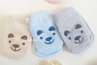 3對裝 嬰兒可愛小熊款防滑襪子 船襪 短襪 0-2歲/2-4歲