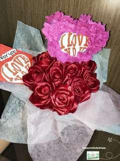 Handmade heart shape 9 stalk dark red rose bouquet
