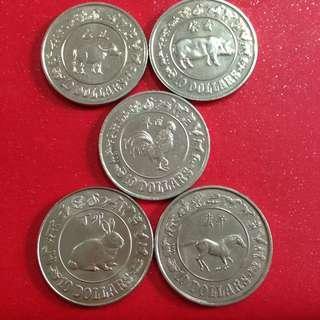 Singapore $10 Lunar coins 5 pieces