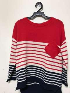 寬鬆韓貨針織條紋毛衣