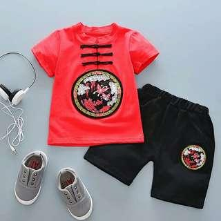 Set Boys Clothing Chinese Style Tops Tshirt + Shorts 2 PCS Clothes Suit Kids Boys Summer Clothes kids clothing