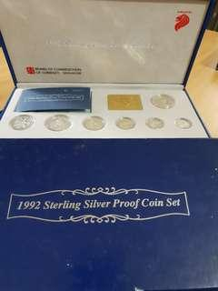 1992 silver proof coins set (1cent to 5 dollars)