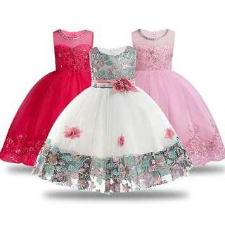 Embroidered Formal Princess Dress for Girl Elegant Birthday Party Dress Girl Dress Baby Girl Christmas Clothes 2-14 Years