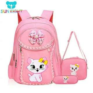 1set Sweet Cat Girl's School Bags Cartoon Pattern Kid Backpack Children School Backpack Girl Bag