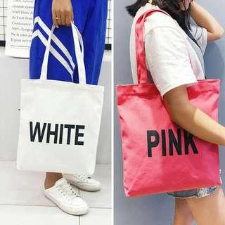 [ READY STOCK ] SIMPLE COLOUR WORD TOTEBAG