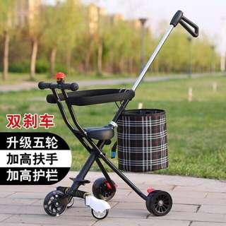 🚚 Light Portable Foldable Kids Tricycle  Stroller - Black (With front PU Light-up Wheel, Rear Big Wheels with Double Brake & Basket) - In Stock !!!