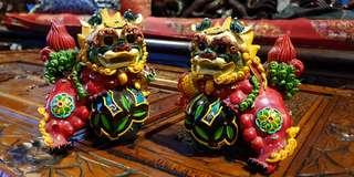 Chinese vintage colorful foo dogs feng shui