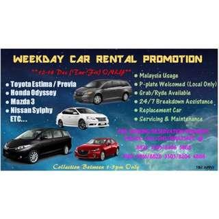 WEEKDAY CAR RENTAL SERVICES