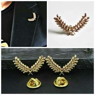 🎄SALE: BN Korean Golden Victory Leaf Pin-A Pair