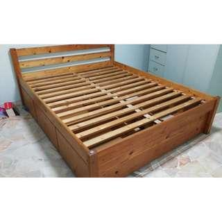 There are two  sea horse queen size solid wood bed frames