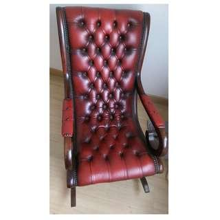 Rare Oxblood Leather Chesterfield Rocking Chair
