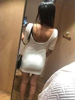 Glamorous white dress with low back