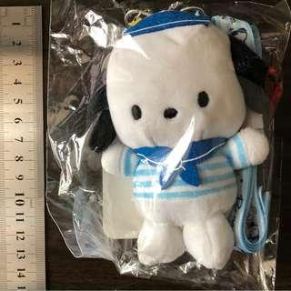 全新 Pochacco Plush Doll with neck strap Use for Card Holder & Key 公仔吊飾連頸繩 可放八達通及鎖匙