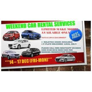 WEEKEND CAR RENTAL SERVICES 14 - 17 DEC (FRI-MON)