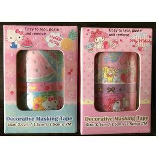 全新 My Melody & Hello Kitty Decorative Masking Tape 裝飾膠紙 兩盒四卷