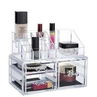 Desktop lipstick nail polish cosmetics storage box large shelving transparent simple jewelry mascara brush cosmetic bag